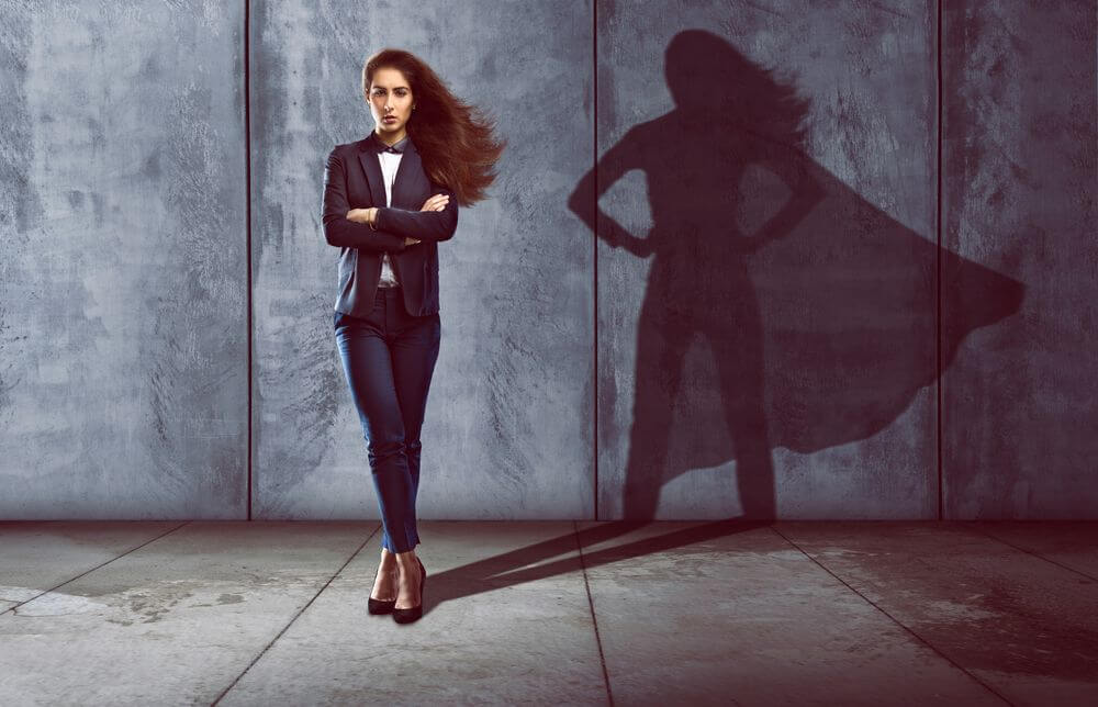 businesswoman's shadow showing her abilities
