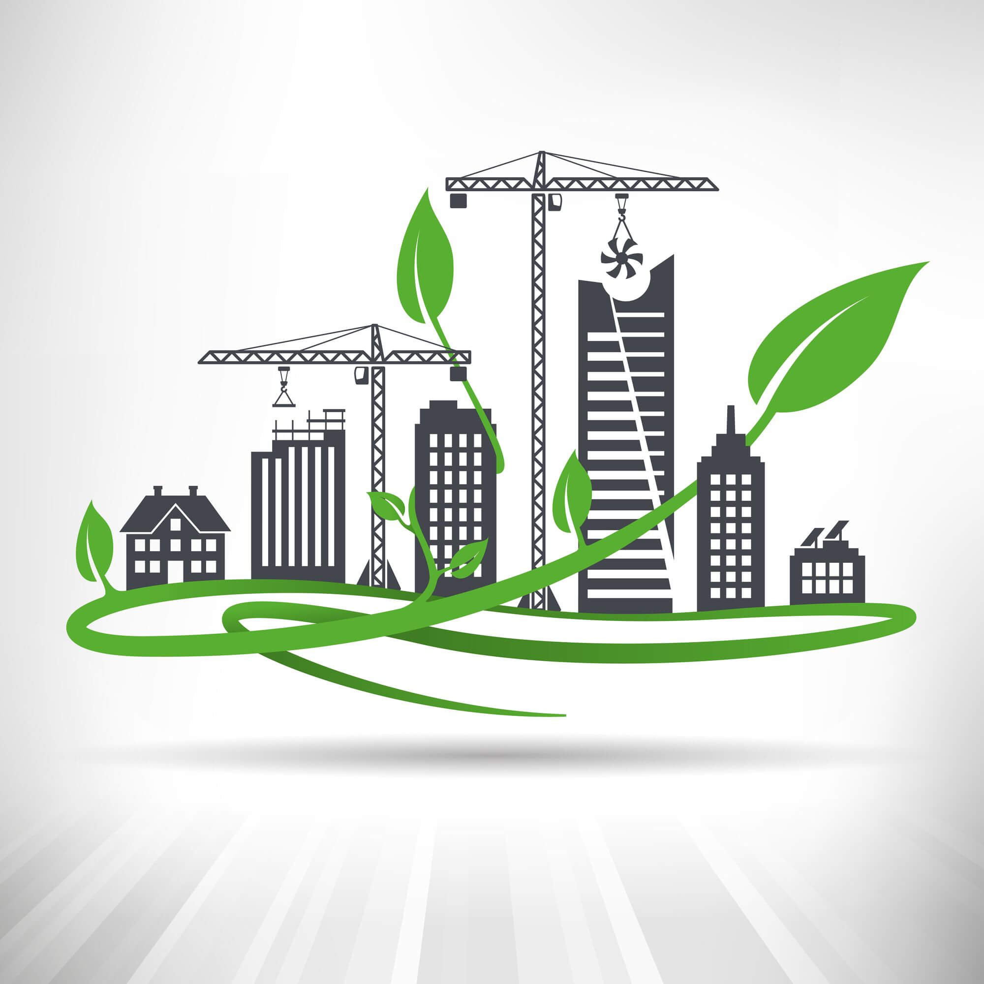eco friendly architecture banner on white background
