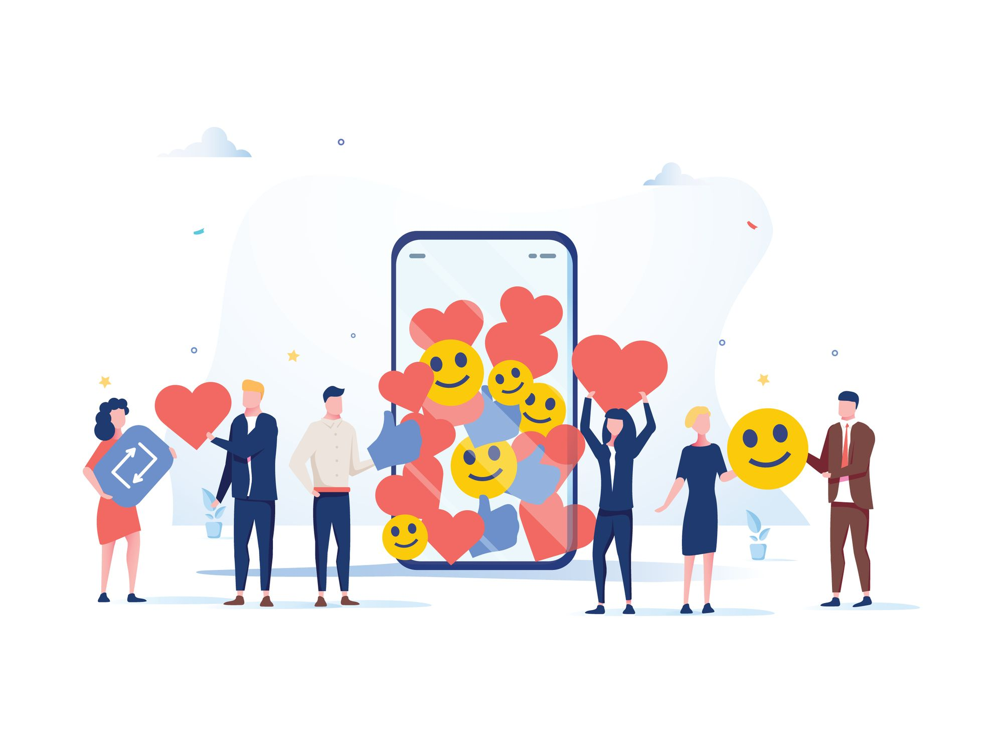 group of people with like, comment, follower icon