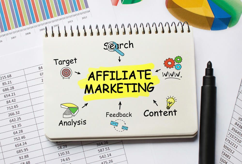 Notebook with Tools and Notes about Affiliate Marketing with black marker
