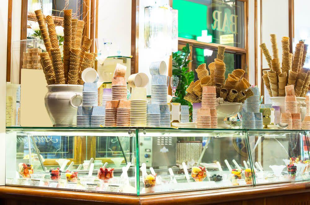 interior of an ice cream parlour