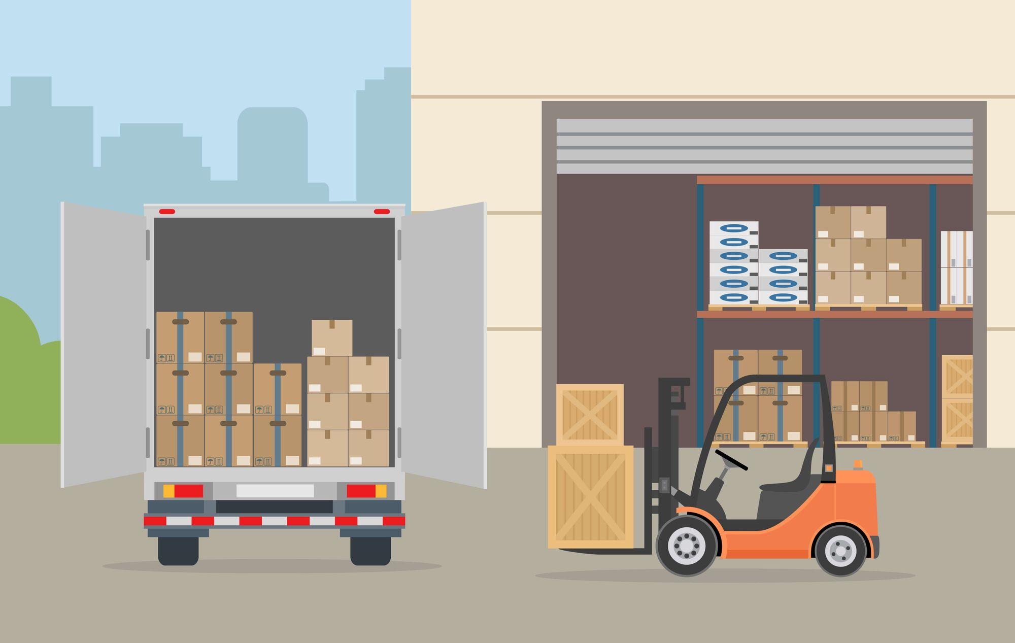 Warehouse building, truck and Forklift truck on city background