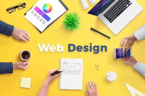 Yellow desk with web design text