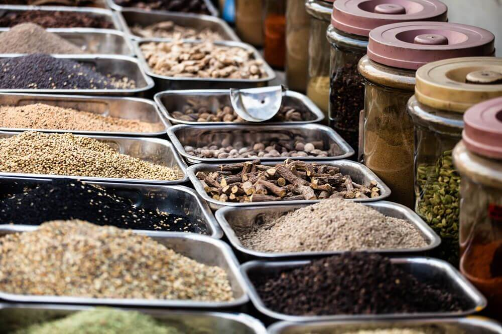 various spices putted in various containers and bowls