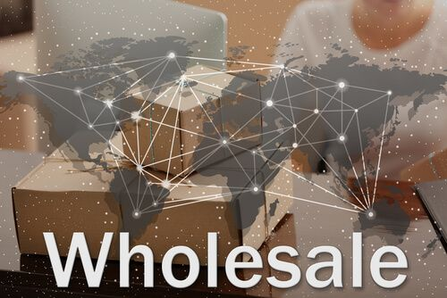 World map and word WHOLESALE on background