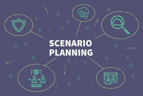 business illustration with the words scenario planning