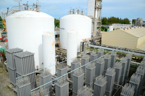 oxygen tanks, nitrogen tanks, industrial tanks at petrochemical plant, oil and gas plant