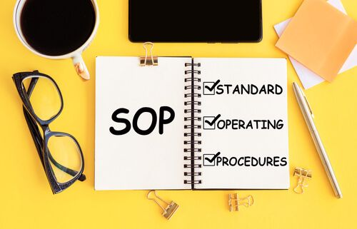 SOP - Standard Operating Procedure, text on notepad and office accessories on yellow desk