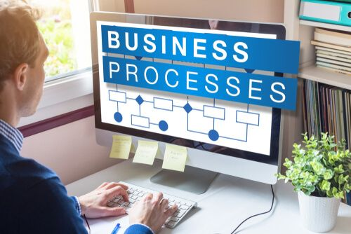Business process word on computer screen with workflow automation flowchart