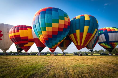 Colourful Hot air balloon is starting to fly