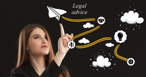 Young businessman thinks over the steps for successful growth: Legal advice