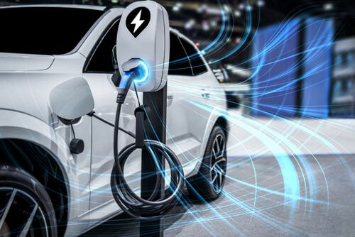 EV charging station for electric car of green energy and eco power produced