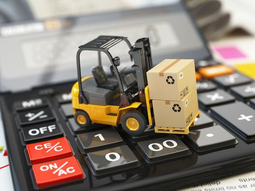 Forklift with cardboxes on calculator