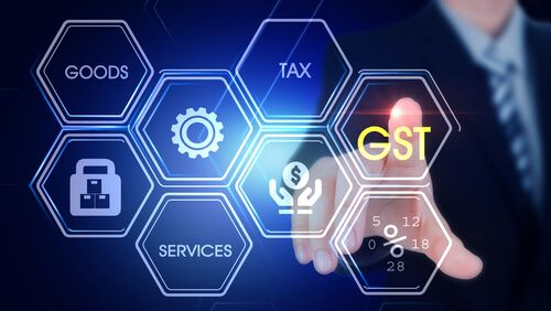 man touching with finger at GST Hexagonal virtual Touch Screen