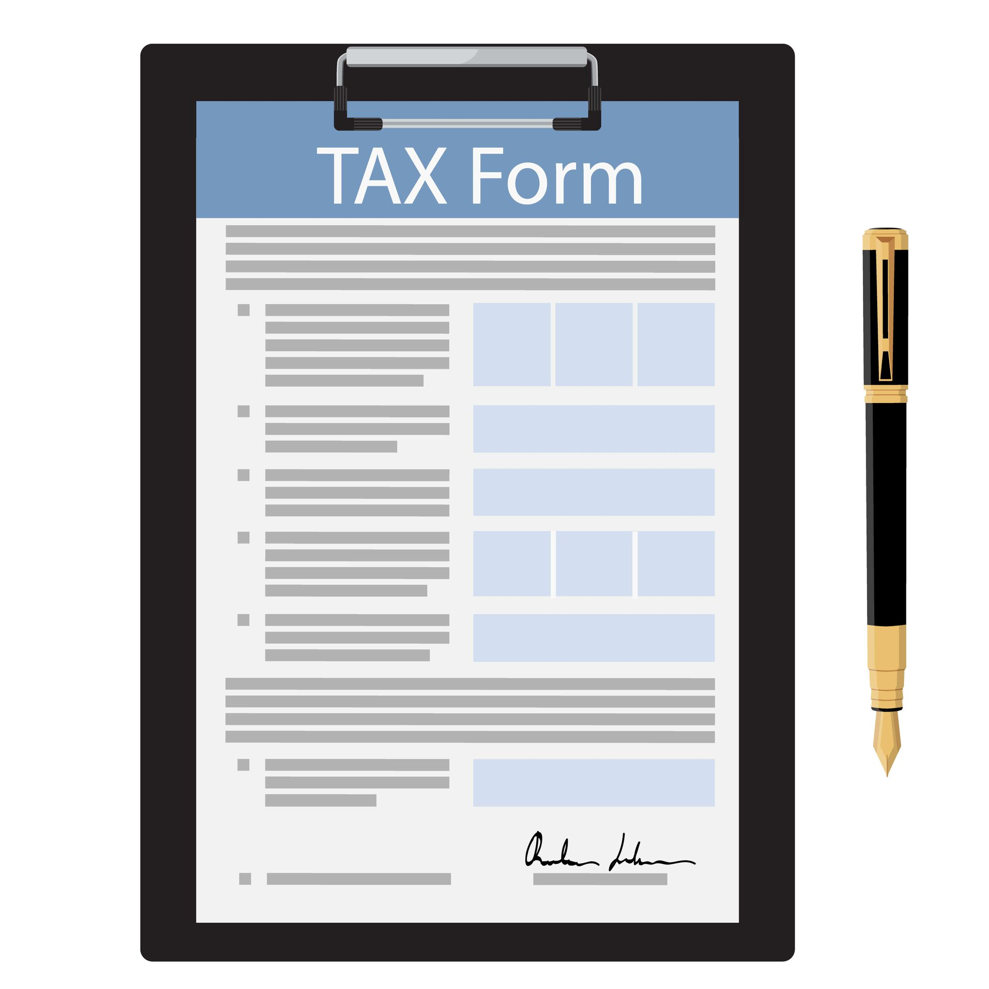black clipboard with tax form and fountain pen icon isolated on white background