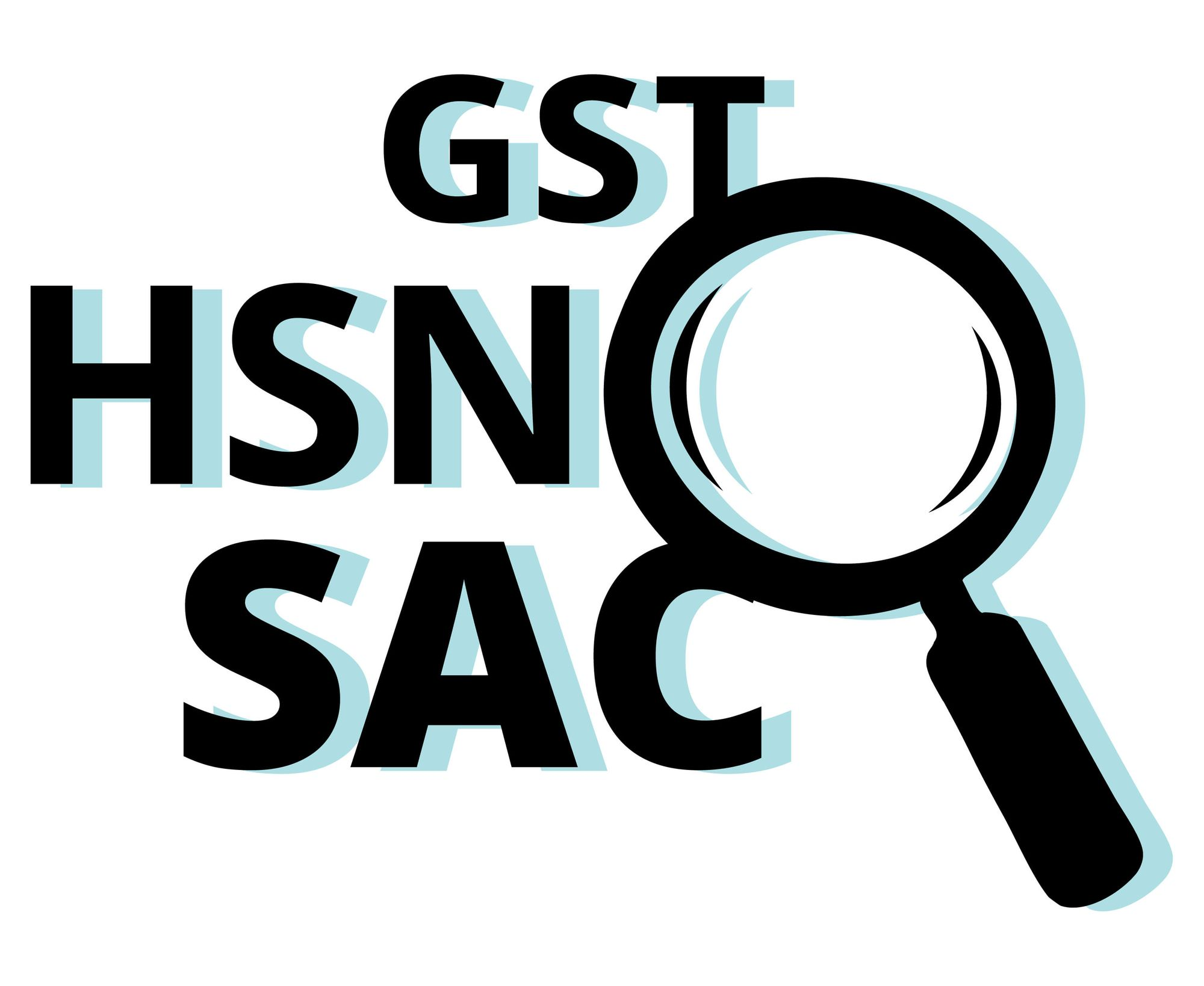 GST SAC HNS - Lookup codes for India GST against white background