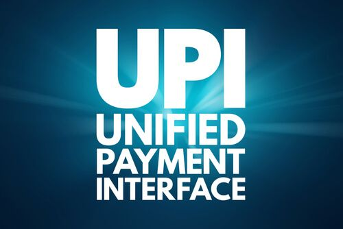 Unified Payment Interface acronym on blue background