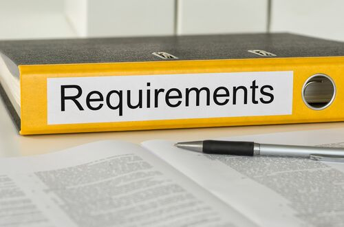 Folder with the label Requirements